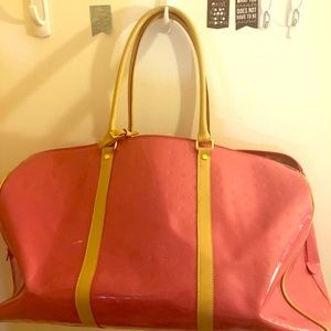 Arcadia genuine patent leather vacation duffle.
